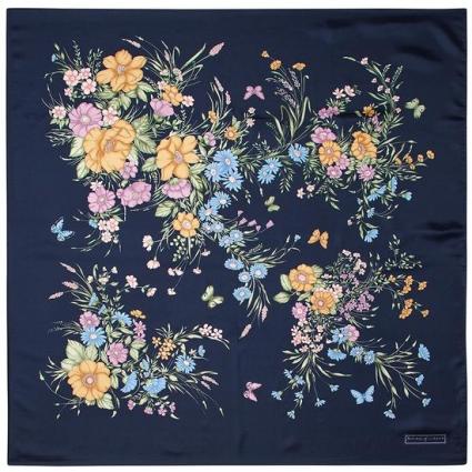 7429e584c ... ASPINAL OF LONDON BOUQUET OF FLOWERS SILK SCARF BLUE. Alternate shots