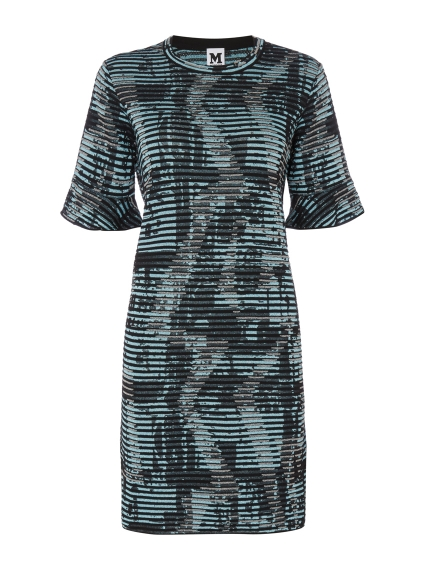 256b672b4c46b In a relaxed T-shirt silhouette, this M Missoni dress fuses effortless  style with Italian glamour. Featuring a zig zag ribbed knit in sparkly blue,  ...